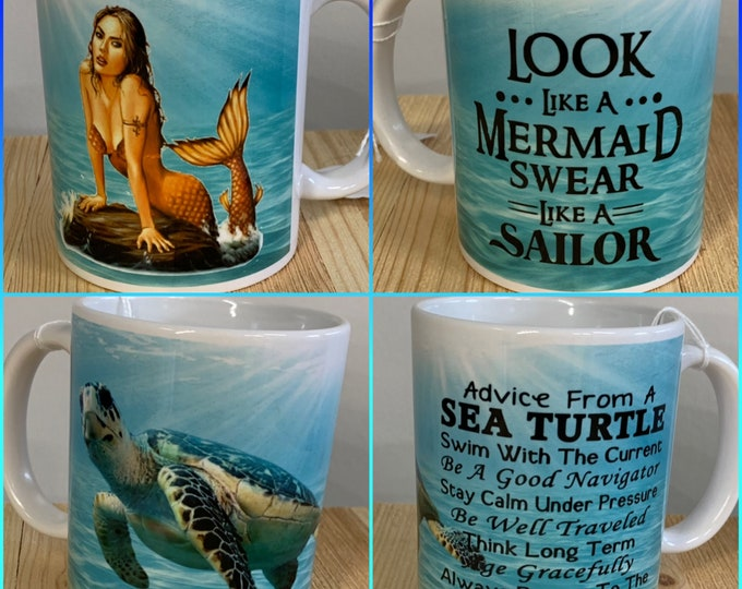 Mermaid, Turtle, coffee, Tea, star, coffee mug, coffee cup
