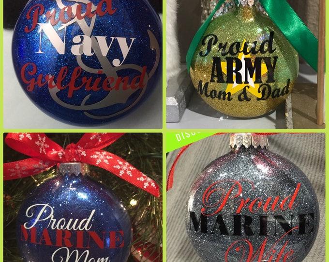Navy, Marine, Coast Guard, Military ornaments, Glass Ornament, Personalized Ornament