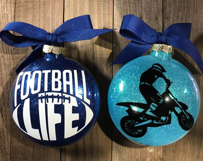 Featured listing image: Dirt bike, BMX, Football Ornament, Glass ornament, boys ornaments