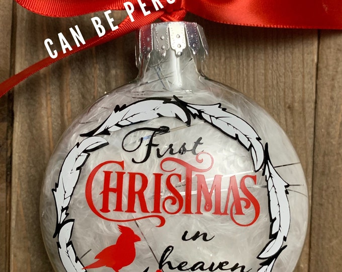 1st Christmas, Glass Ornament, Personalized ornament, heaven, missing you, loss, remembrance,