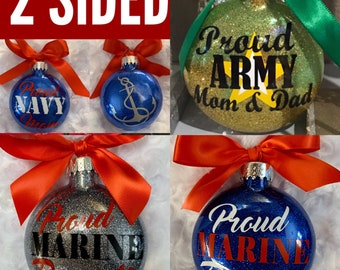 Navy, Marine, Coast Guard, Military ornaments, Glass Ornament, Personalized Ornament
