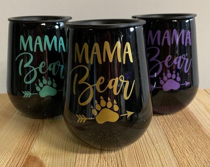 Mama bear, Mother's Day, wine glass,  stainless, tumbler, Mermaid, mom,mum, glitter tumbler
