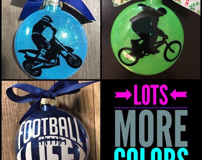 Dirt bike, BMX, Football Ornament, Glass ornament, boys ornaments,Personalized Ornament