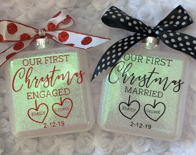 First Christmas Married, First Christmas Engaged, 1st Christmas Ornaments, Mr And Mrs, Engagement