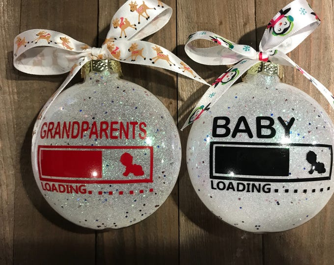 Featured listing image: Pregnancy announcement ornament, Glass Ornament, personalized ornament, Christmas ornament,  Baby announcement, Baby Due