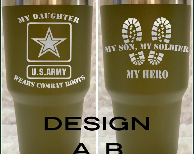 Army mom, army, soldier, hero, tumbler, flask, combat boots