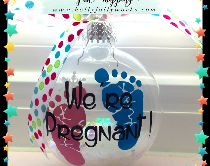 Featured listing image: Pregnancy announcement, pregnancy ornament, Glass ornament, Personalized ornament, pregnancy, Grandparents to be
