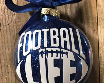 Football Ornament, Glass ornament, boys ornaments, Personalized Ornament