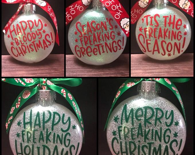Christmas ornaments, funny Christmas ornaments , rude Christmas ornaments, glass ornaments