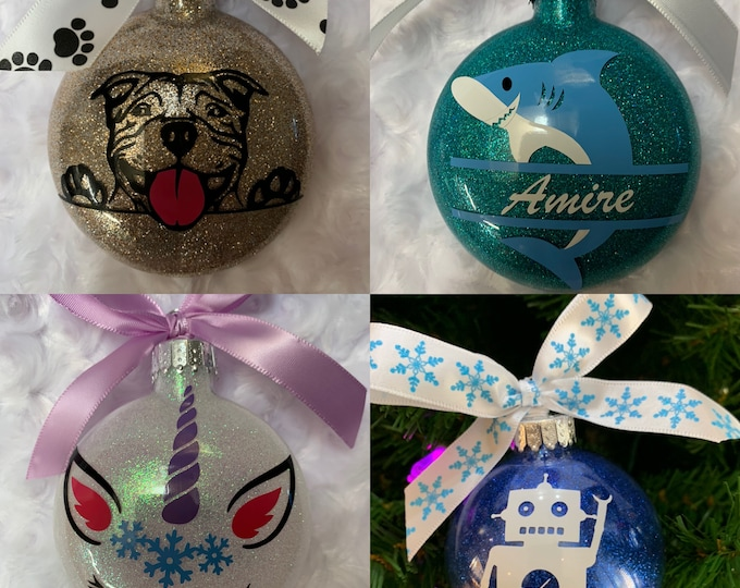 Unicorn, shark, puppy, robot ornament, Christmas ornament, glass ornaments, kids ornaments