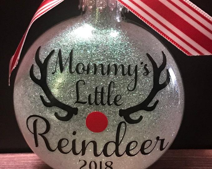 Reindeer ornament, 1st Christmas, First Christmas, Glass ornament