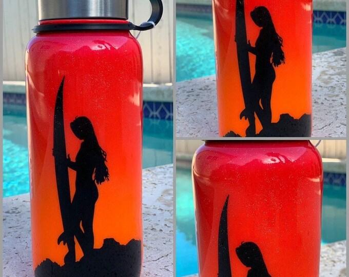 Sunset flask, surf flask, flask, surfer, tumbler, Glitter Tumbler