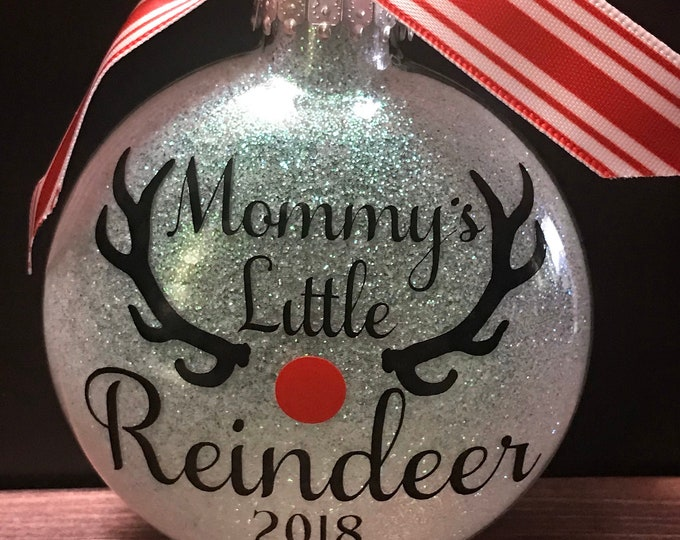 Reindeer ornament, 1st Christmas, First Christmas, Glass ornament