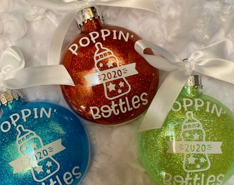 Popping Bottles, Pregnancy Announcement, Baby Announcement, Ornament, Christmas Ornaments, Expecting