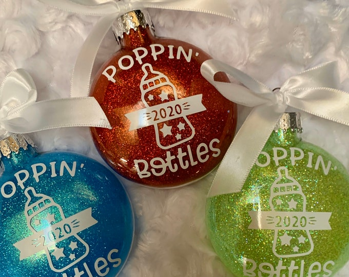 Popping Bottles, Pregnancy announcement,Baby Announcement, Ornament, Christmas ornaments, Expecting