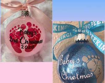 Baby's First Christmas, 1st Christmas, Personalized Ornament, Santa, Glass Ornament 2nd Christmas, Babies' First, Babie's 1st