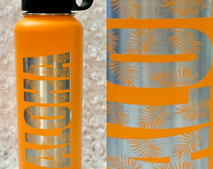 Aloha flask, Aloha tumbler, Tropical tumbler, Hawaiian Tumbler, Tribal tumbler, aloha, water, tea, coffee
