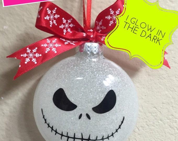 Glass ornament Jack  (glow in the dark), Glass ornament, Ornament, Jack and Sally Ornament, Glow in dark