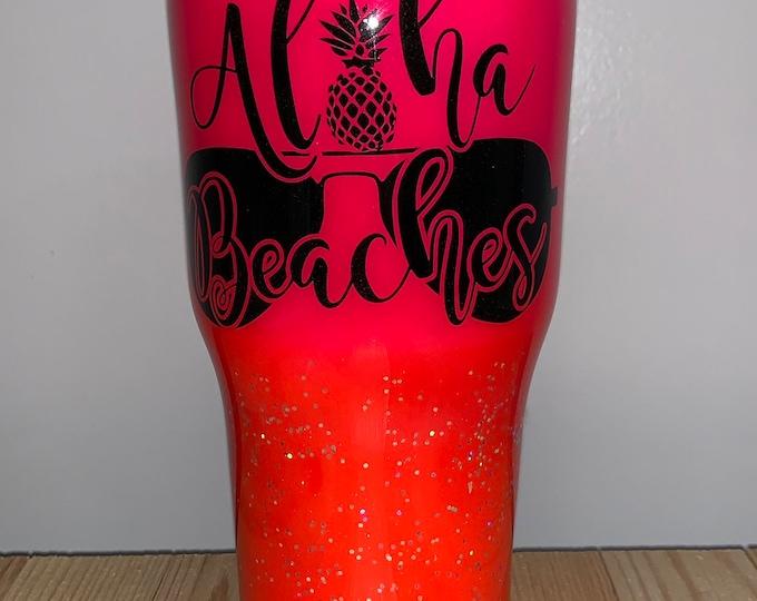 Aloha beaches, Aloha, Tumbler, glitter, Beach, flask, drink, Hawaiian