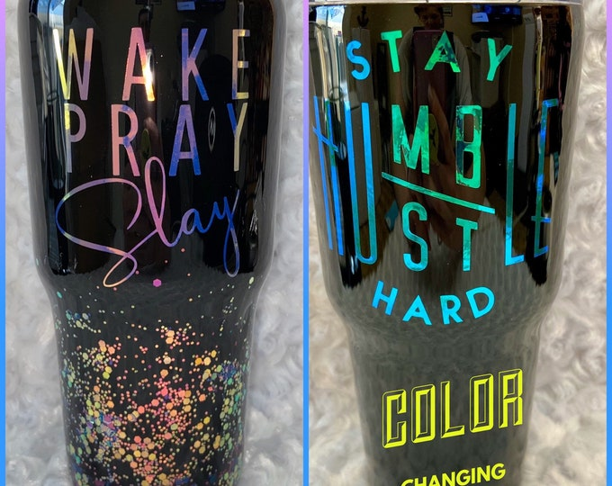 Wake pray slay, stay humble stay hard, tumbler cup, tumbler, stainless tumbler glitter. Personalized