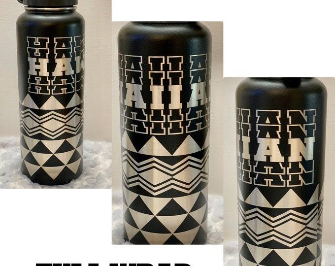 Tribal, water flask, hydro, tumbler, Hawaiian,aloha, tropical, coffee, tea, stainless, Shaka