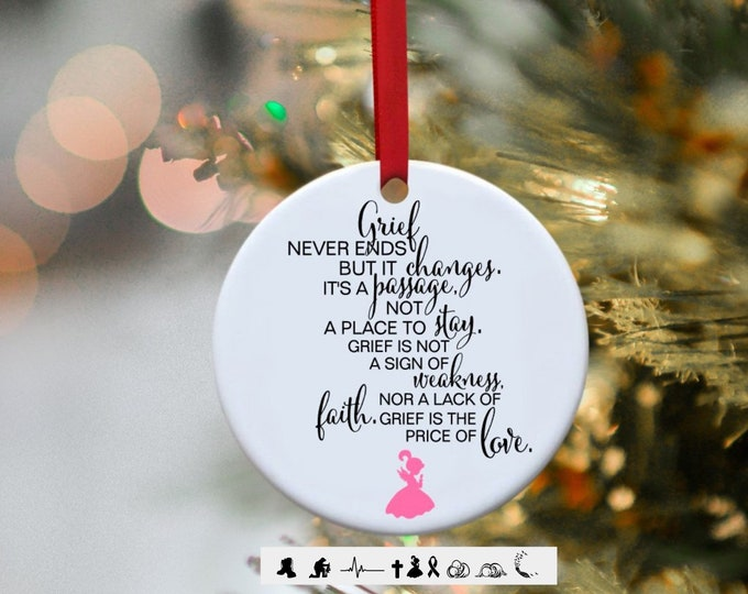 Remembrance ornament, In Memory, Breast Cancer, Cancer, Glass Ornament, Ornament,