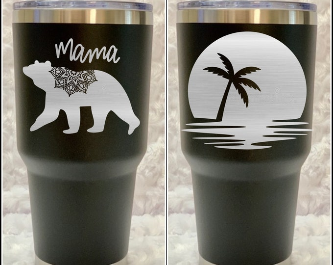 Mama bear, Palm tree, tropical, aloha, Hawaii, beach , summer, tumbler, flask