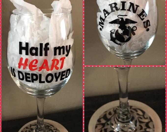 Deployment Glass, Deployment countdown, Deployment, Military Wife, Personalized wine glass