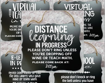 Distance Learning, Home School, E Learning, Homeschool Mom, Homeschool, School, Virtual Learning, Teacher, Door signs