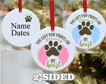 Pet Loss, Dog Ornament, Pet Memory, Wings were ready, Paw Print on my heart, Glass ornament, Personalized ornament