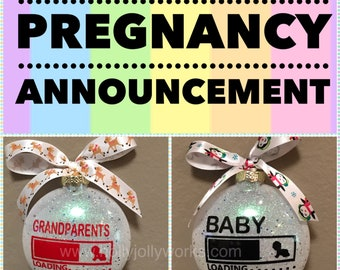 Grandparents, Pregnancy, Pregnant, Glass Ornament, Baby, Personalized Pregnancy Ornament, Grandparents To Be, Customized