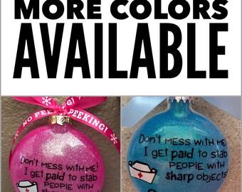 Nurse Ornament, Nurse, OBGYN, Glass Ornament, Christmas Ornament , personalized Ornament