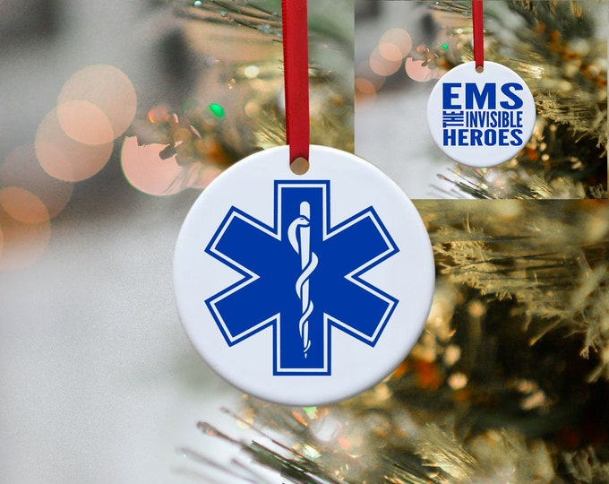 EMS, Paramedic, Nurse, EMT, Hero, Police, Firefighter, Ornament, Christmas, Christmas Ornament