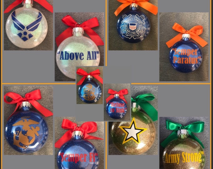 Military ornaments, Army, Navy, Marines , Air Force, Soldier, glass ornament, Coast Guard