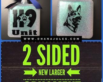 Police Dog, Police, K9, Police Ornament, Personalized ornament, Glass Ornament
