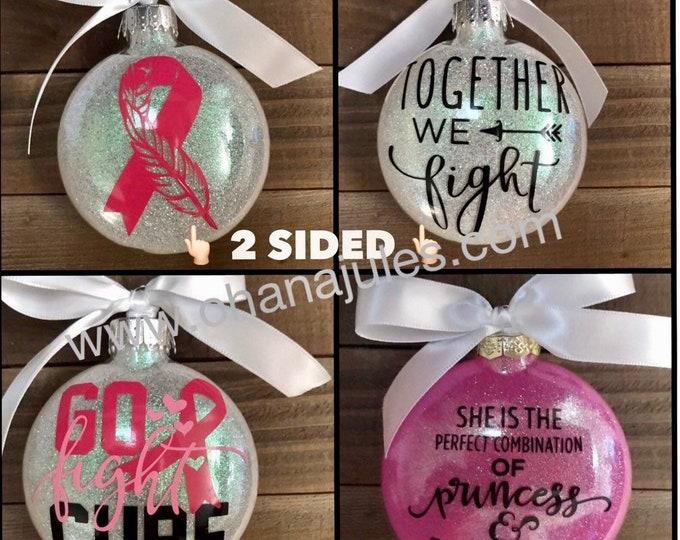 Breast Cancer , glass ornament, ornament, survivor, Christmas, Cancer survivor, Breast Cancer Awareness