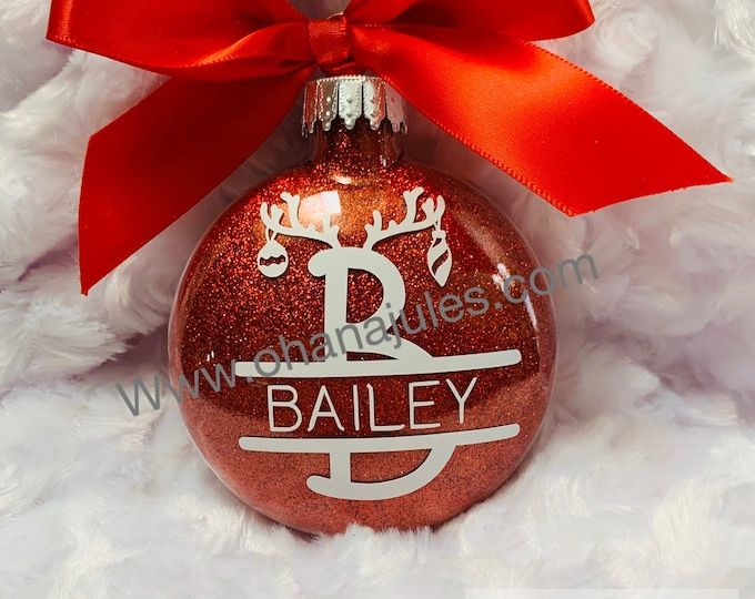 Reindeer, Reindeer Ornament, Personalized Ornament, Glass Ornaments, Kids Ornament