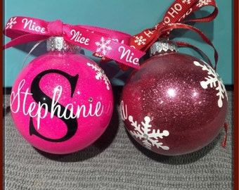 Christmas Ornaments, Personalized Ornament , Glass Ornaments