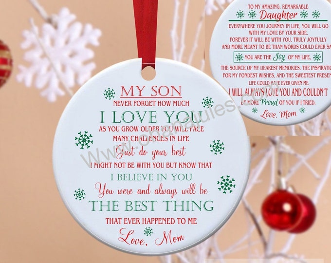 Son, Daughter, Ornament, Personalized, Family, Holiday Decore, Christmas Tree, Personalized Ornament
