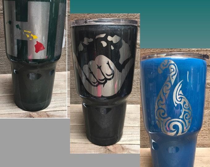 Tumbler cup, stainless tumbler, Hawaiian islands, shaka, maui hook, Glitter Tumbler