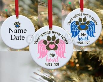 Pet Loss, Dog Ornament, Cat Ornament, Pet Memory, Wings, Pet loss ornament, Persoanlized Ornament, Dog, Cat