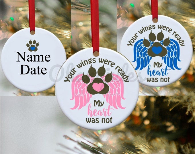 Pet Loss, Dog Ornament, Cat Ornament, Pet Memory, Wings, Pet loss ornament, Persoanlized Ornament, Dog, Cat