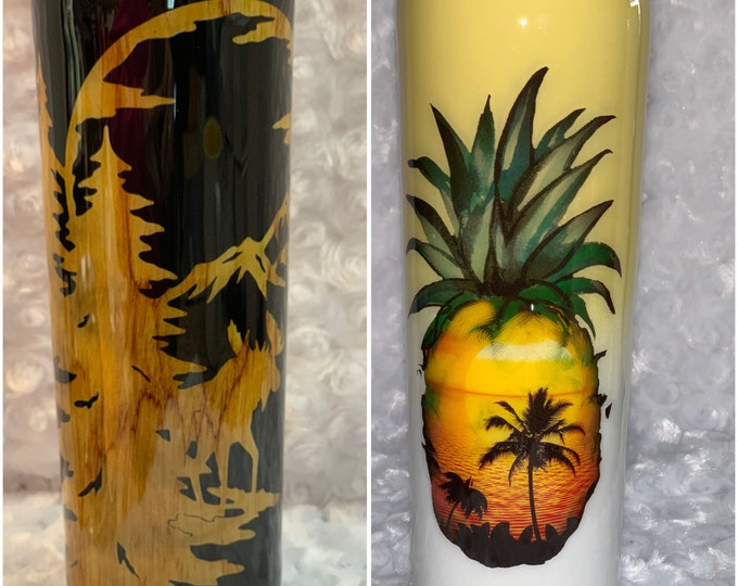 Hunter, pineapple, tropical, Hawaiian,Hawaii, wood, tumbler, skinny tumbler, stainless,