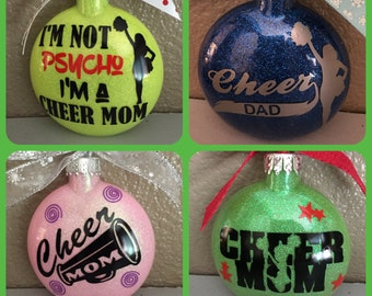 Cheer, Cheerleading Ornament, Ornaments, Cheer Mom, Glass Ornament
