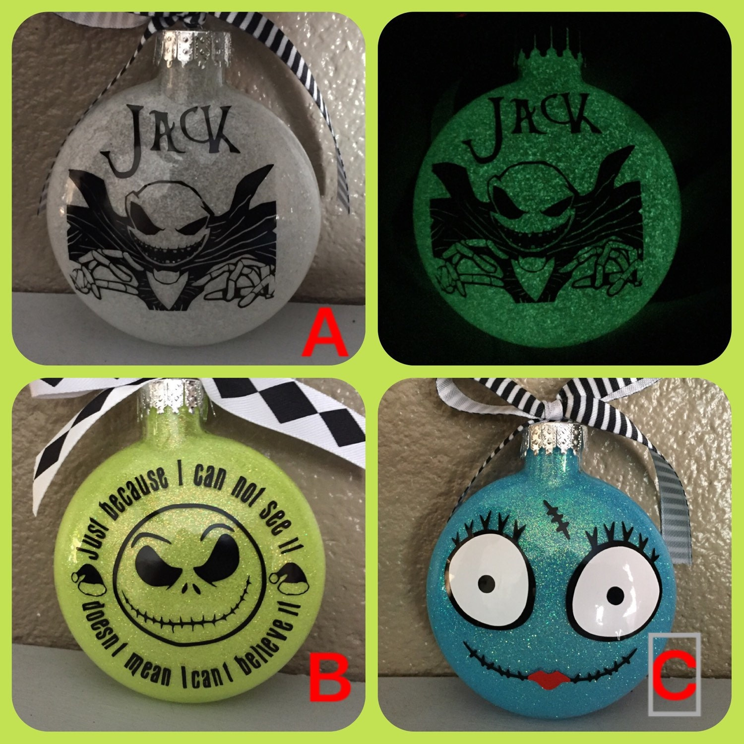 nightmare before christmas ornaments jack ornaments sally ornaments corpse bride jack and sally ornament jack skeleton glow in dark - Jack Skeleton Christmas Decorations