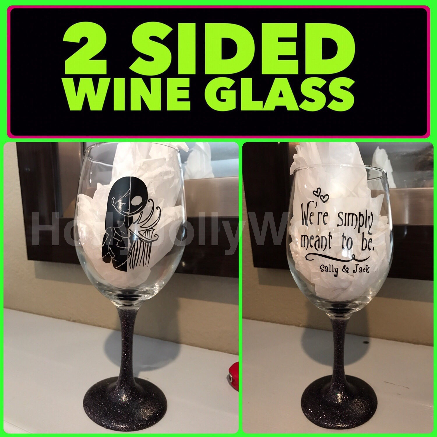 Nightmare before Christmas , Jake and Sally wine glass, Personalized