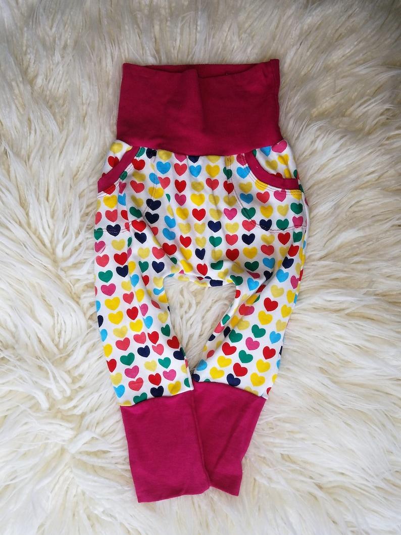 Rainbow Girls Pants Grow with me Pants Bunny Bottoms 3m to 12m Girly Pink Pants Girly grow with me Girls Pants Hearts