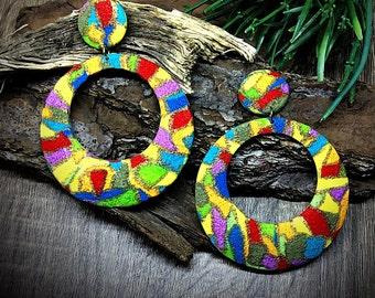 Color Block Earrings/ Colorful Earrings/ Bright Hoop Earrings/ Clip On Fashion Earrings/ Rainbow Hoop Earrings