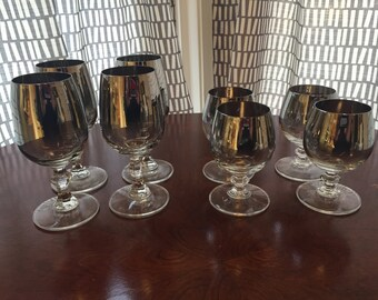 Silver Ombre cordial glasses - set of 8, two sizes