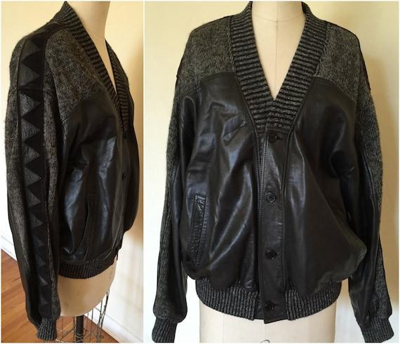 Rare Beltrami cuir et tissu pull veste vintage des années 80   Etsy 59b988b5a69